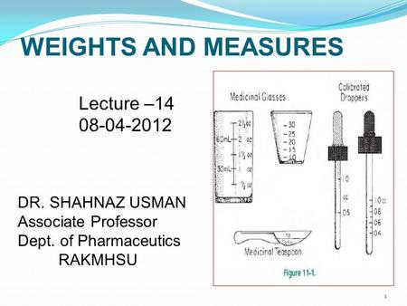 WEIGHTS AND MEASURES Lecture – DR. SHAHNAZ USMAN