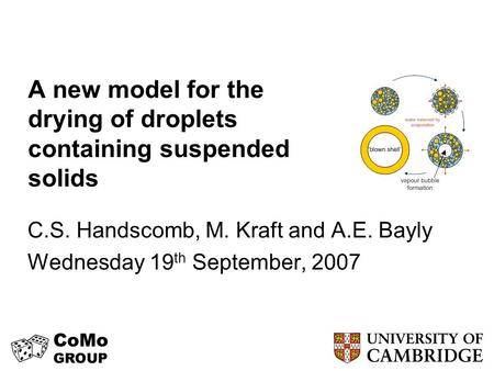 A new model for the drying of droplets containing suspended solids C.S. Handscomb, M. Kraft and A.E. Bayly Wednesday 19 th September, 2007.