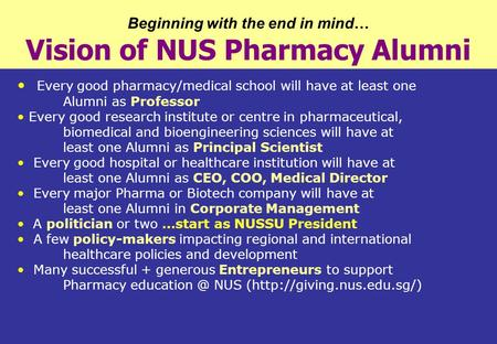 Beginning with the end in mind … Vision of NUS Pharmacy Alumni Every good pharmacy/medical school will have at least one Alumni as Professor Every good.