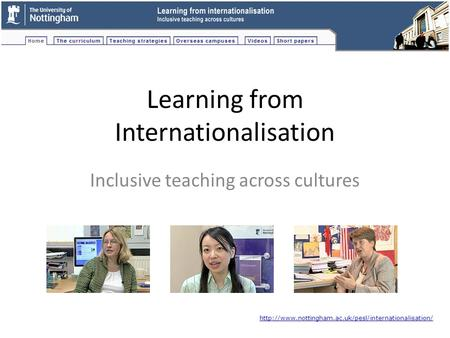 Learning from Internationalisation Inclusive teaching across cultures