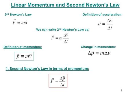 Linear Momentum and Second Newton's Law Definition of momentum: Change in momentum: 2 nd Newton's Law: Definition of acceleration: We can write 2 nd Newton's.