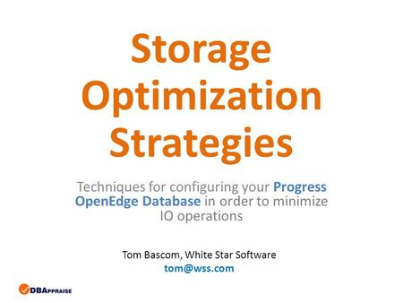 Storage Optimization Strategies Techniques for configuring your Progress OpenEdge Database in order to minimize IO operations Tom Bascom, White Star Software.