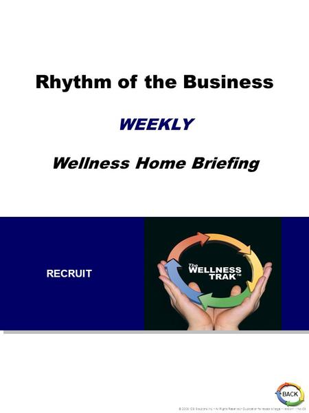 Rhythm of the Business WEEKLY Wellness Home Briefing BACK © 2005 IDS Solutions Inc. All Rights Reserved Duplication for resale is illegal Version1.1 Nov06.