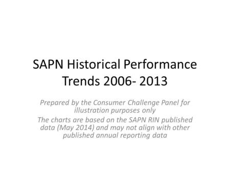 SAPN Historical Performance Trends 2006- 2013 Prepared by the Consumer Challenge Panel for illustration purposes only The charts are based on the SAPN.