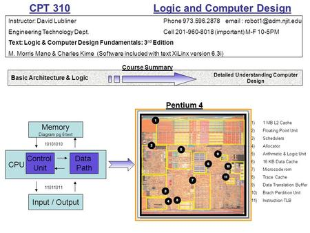 CPT 310 Logic and Computer Design Instructor: David LublinerPhone 973.596.2878   Engineering Technology Dept.Cell 201-960-8018.