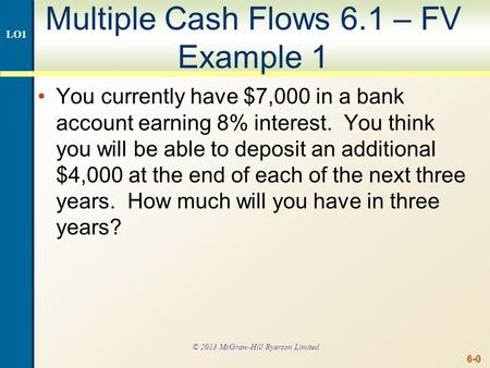 Multiple Cash Flows FV Example 1 continued