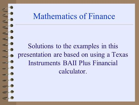 Financial Mathematics Example