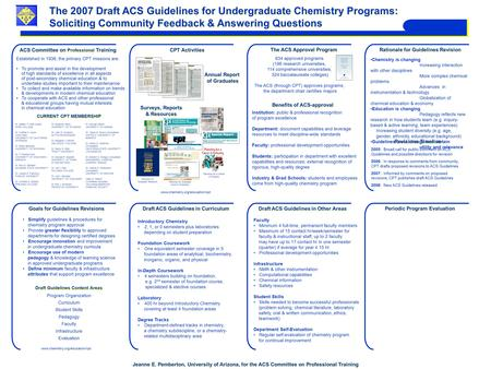 The 2007 Draft ACS Guidelines for Undergraduate Chemistry Programs: Soliciting Community Feedback & Answering Questions The 2007 Draft ACS Guidelines for.