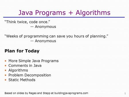Java Programs + Algorithms