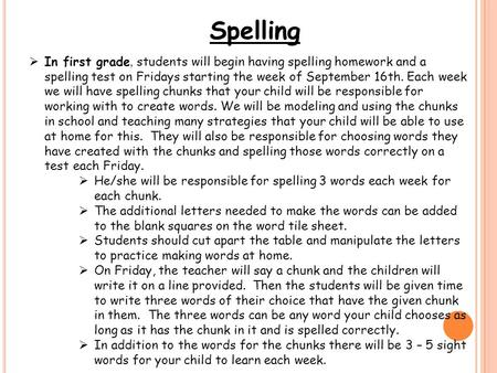 Spelling  In first grade, students will begin having spelling homework and a spelling test on Fridays starting the week of September 16th. Each week we.