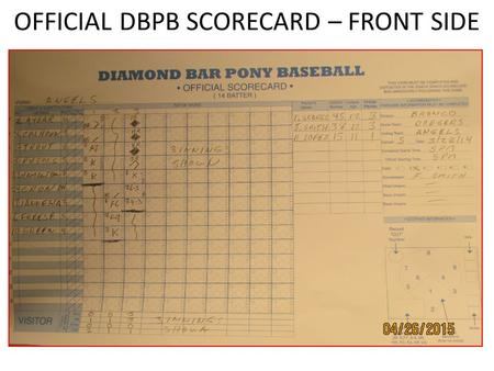 OFFICIAL DBPB SCORECARD – FRONT SIDE. Basic Steps – Filling in the official card 1)Obtain a copy of each teams line-up cards from each coach at least.