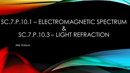 SC.7.P.10.1 – ELECTROMAGNETIC SPECTRUM & SC.7.P.10.3 – LIGHT REFRACTION Mrs. Korsun.