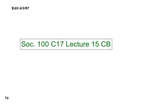 Soc. 100 C17 Lecture 15 CB 1a Edit 4/3/97. A CB Knowledge Quiz 1b Will be discussed in class.