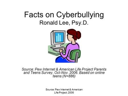 Source: Pew Internet & American Life Project, 2006 Facts on Cyberbullying Ronald Lee, Psy.D. Source: Pew Internet & American Life Project Parents and Teens.