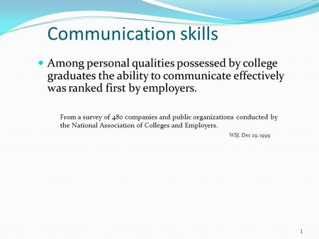 Communication skills Among personal qualities possessed by college graduates the ability to communicate effectively was ranked first by employers. From.