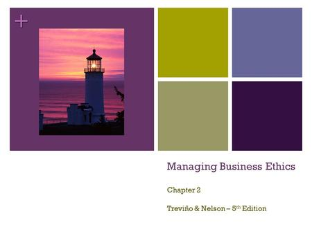 + Managing Business Ethics Chapter 2 Treviño & Nelson – 5 th Edition.
