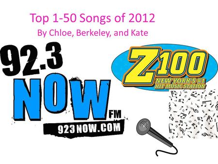 Top 1-50 Songs of 2012 By Chloe, Berkeley, and Kate.