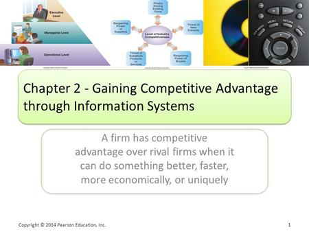 Copyright © 2014 Pearson Education, Inc. 1 A firm has competitive advantage over rival firms when it can do something better, faster, more economically,