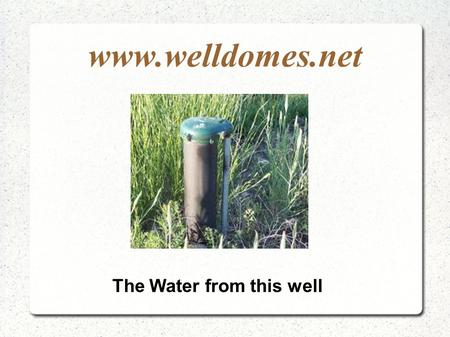 Www.welldomes.net The Water from this well. www.welldomes.net Should be safe and secure.