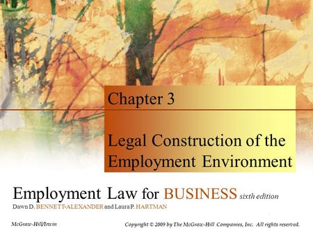 Legal Construction of the Employment Environment