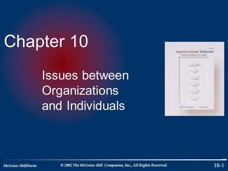 McGraw-Hill/Irwin © 2002 The McGraw-Hill Companies, Inc., All Rights Reserved. 10-1 Chapter 10 Issues between Organizations and Individuals.