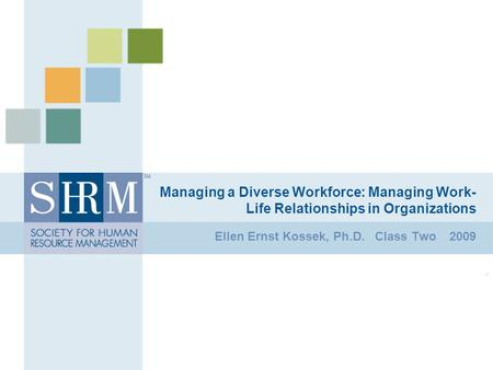 Managing a Diverse Workforce: Managing Work- Life Relationships in Organizations Ellen Ernst Kossek, Ph.D. Class Two 2009.