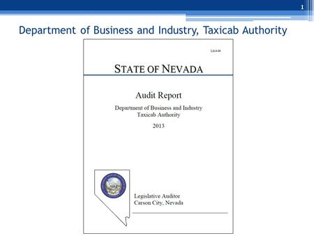 Department of Business and Industry, Taxicab Authority 1.