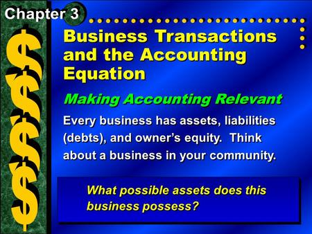 Business Transactions and the Accounting Equation Making Accounting Relevant Every business has assets, liabilities (debts), and owner's equity. Think.