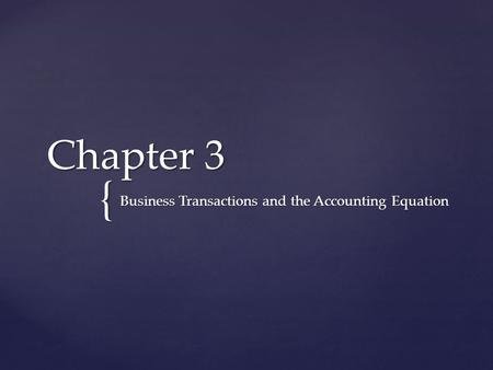 { Chapter 3 Business Transactions and the Accounting Equation.