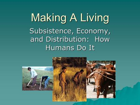 Subsistence, Economy, and Distribution: How Humans Do It
