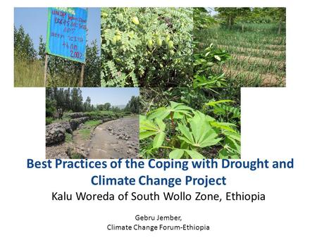 Best Practices of the Coping with Drought and Climate Change Project Kalu Woreda of South Wollo Zone, Ethiopia Gebru Jember, Climate Change Forum-Ethiopia.