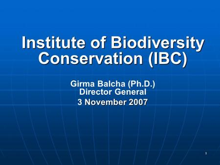 1 Institute of Biodiversity Conservation (IBC) Girma Balcha (Ph.D.) Director General November 2007 3 November 2007.
