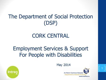 May 2014 The Department of Social Protection (DSP) CORK CENTRAL Employment Services & Support For People with Disabilities 1.