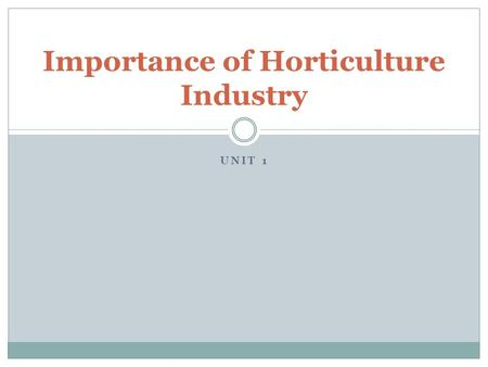 UNIT 1 Importance of Horticulture Industry. Understanding the Importance What importance do plants play in everyday life? What roles do they play? What.