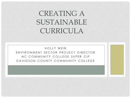 HOLLY WEIR ENVIRONMENT SECTOR PROJECT DIRECTOR NC COMMUNITY COLLEGE SUPER CIP DAVIDSON COUNTY COMMUNITY COLLEGE CREATING A SUSTAINABLE CURRICULA.