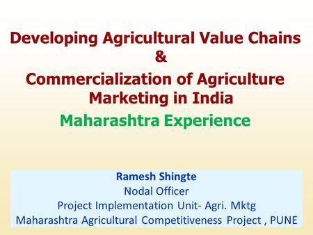 Developing Agricultural Value Chains &
