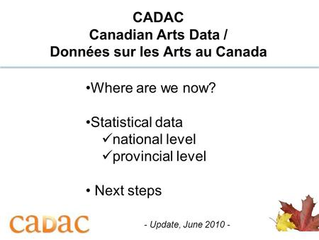 1 CADAC Canadian Arts Data / Données sur les Arts au Canada Where are we now? Statistical data national level provincial level Next steps - Update, June.