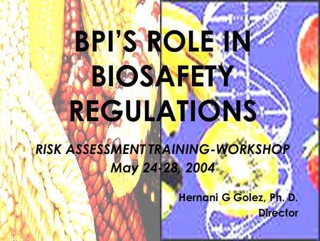 Hernani G Golez, Ph. D. Director BPI'S ROLE IN BIOSAFETY REGULATIONS RISK ASSESSMENT TRAINING-WORKSHOP May 24-28, 2004.