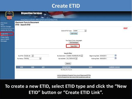 "Create ETID To create a new ETID, select ETID type and click the ""New ETID"" button or ""Create ETID Link"". To create a new ETID, select ETID type and click."