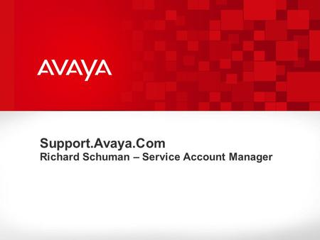 Support.Avaya.Com Richard Schuman – Service Account Manager.