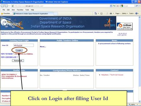Click on Login after filling User Id. Click on Select Certificate.