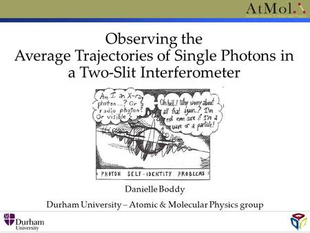 Danielle Boddy Durham University – Atomic & Molecular Physics group Observing the Average Trajectories of Single Photons in a Two-Slit Interferometer.