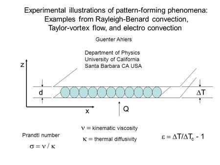 Experimental illustrations of pattern-forming phenomena: Examples from Rayleigh-Benard convection, Taylor-vortex flow, and electro convection  Guenter.