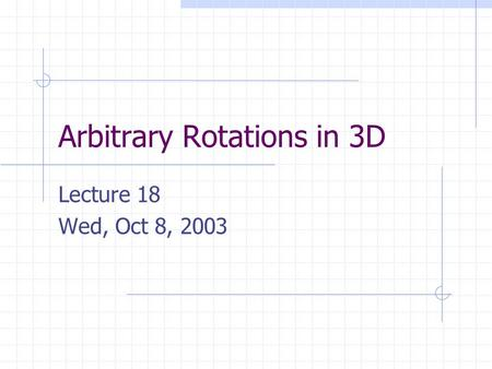 Arbitrary Rotations in 3D Lecture 18 Wed, Oct 8, 2003.