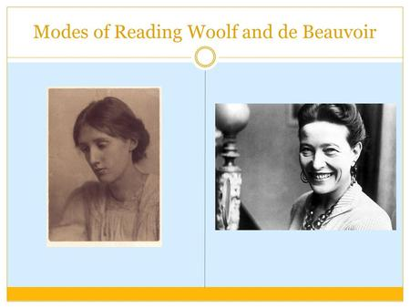 "Modes of Reading Woolf and de Beauvoir. Plan Virgina Woolf, Chapter Two of A room of one's own (Lodge 5) Simone de Beauvoir, ""Myth and reality,"" and ""Woman's."