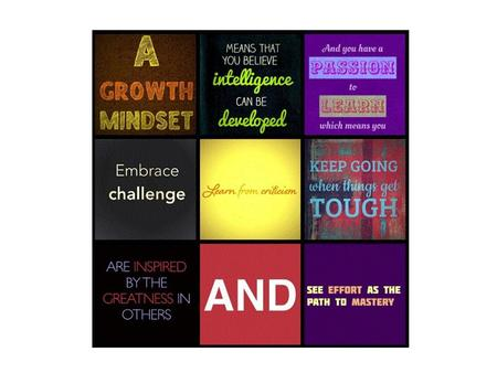 Growth Mindset What's it all about? What are your children already saying about Growth Mindset at home?