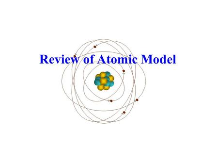 Review of Atomic Model. Elements are pure substances containing one type of atom – found on the Periodic Table. The atom is the smallest part that retains.