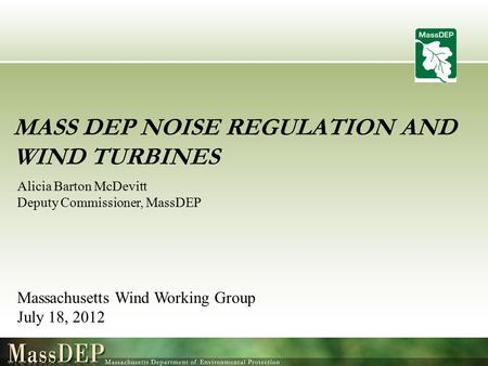 Mass DEP Noise Regulation and Wind Turbines