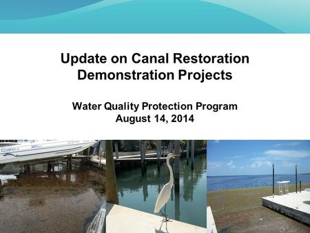 Update on Canal Restoration Demonstration Projects Water Quality Protection Program August 14, 2014.