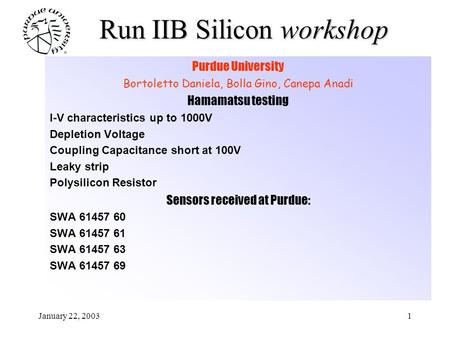 January 22, 20031 Run IIB Silicon workshop Purdue University Bortoletto Daniela, Bolla Gino, Canepa Anadi Hamamatsu testing I-V characteristics up to 1000V.